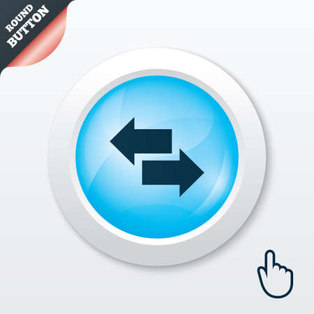 outgoing: Incoming and outgoing calls sign. Upload. Download arrow symbol. Blue shiny button. Modern UI website button with hand cursor pointer. Vector Illustration