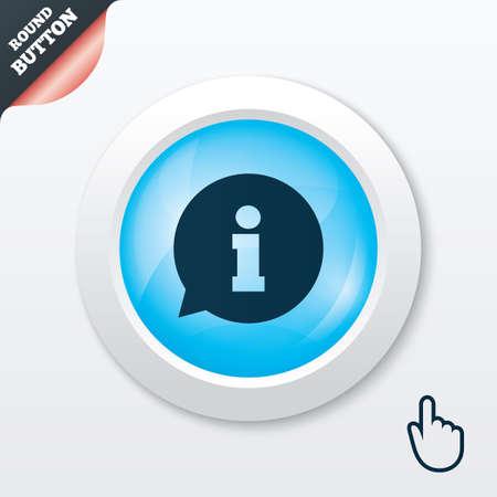 Information sign icon. Info speech bubble symbol. Blue shiny button. Modern UI website button with hand cursor pointer. Vector Vector
