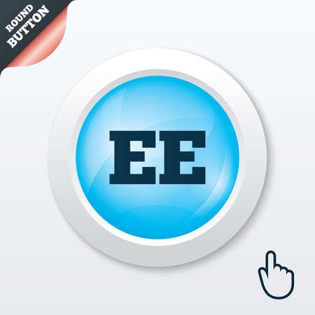 ee: Estonian language sign icon. EE translation symbol. Blue shiny button. Modern UI website button with hand cursor pointer. Vector Illustration