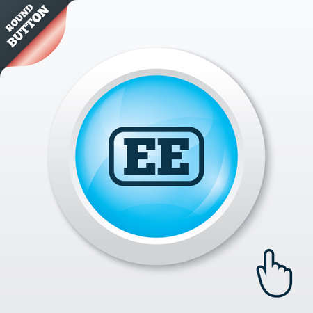 ee: Estonian language sign icon. EE translation symbol with frame. Blue shiny button. Modern UI website button with hand cursor pointer. Vector Illustration