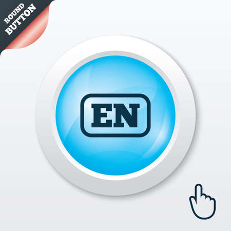 en: English language sign icon. EN translation symbol with frame. Blue shiny button. Modern UI website button with hand cursor pointer. Vector