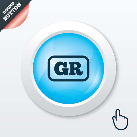 gr: Greek language sign icon. GR Greece translation symbol with frame. Blue shiny button. Modern UI website button with hand cursor pointer. Vector