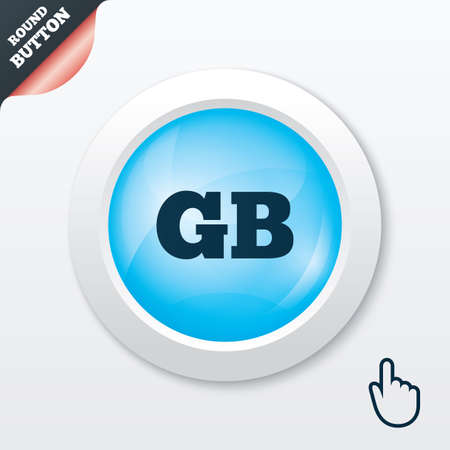 gb: British language sign icon. GB Great Britain translation symbol. Blue shiny button. Modern UI website button with hand cursor pointer. Vector