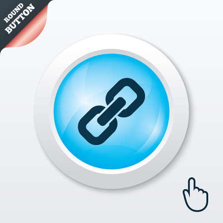 hyperlink: Link sign icon. Hyperlink chain symbol. Blue shiny button. Modern UI website button with hand cursor pointer. Vector