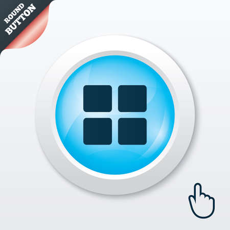 thumbnails: Thumbnails sign icon. Gallery view option symbol. Blue shiny button. Modern UI website button with hand cursor pointer. Vector
