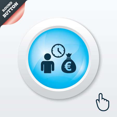 borrow: Bank loans sign icon. Get money fast symbol. Borrow money. Blue shiny button. Modern UI website button with hand cursor pointer. Vector Illustration