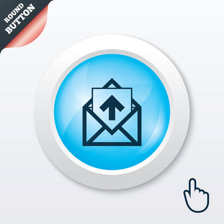 outgoing: Mail icon. Envelope symbol. Outgoing message sign. Mail navigation button. Blue shiny button. Modern UI website button with hand cursor pointer. Vector