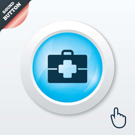 doctor symbol: Medical case sign icon. Doctor symbol. Blue shiny button. Modern UI website button with hand cursor pointer. Vector Illustration