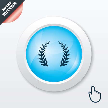 Laurel Wreath sign icon. Triumph symbol. Blue shiny button. Modern UI website button with hand cursor pointer. Vector