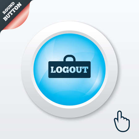 sign out: Logout sign icon. Sign out symbol. Lock icon. Blue shiny button. Modern UI website button with hand cursor pointer. Vector
