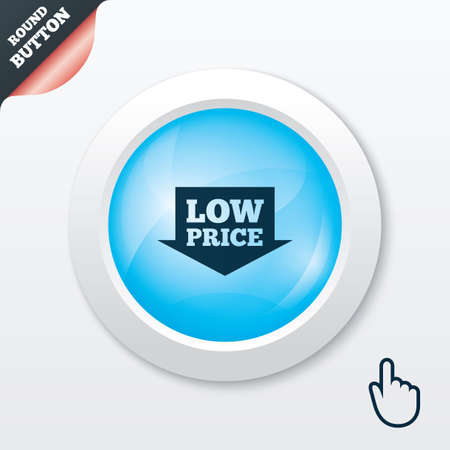 advantageous: Low price arrow sign icon. Special offer symbol. Blue shiny button. Modern UI website button with hand cursor pointer. Vector Illustration