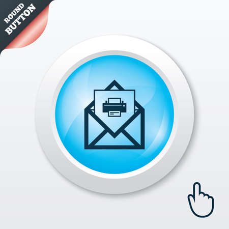 Mail print icon. Envelope symbol. Message sign. Mail navigation button. Blue shiny button. Modern UI website button with hand cursor pointer. Vector Vector