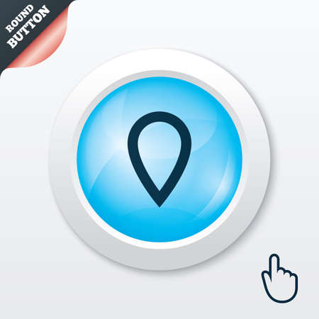 Map pointer sign icon. Location marker symbol. Blue shiny button. Modern UI website button with hand cursor pointer. Vector Vector