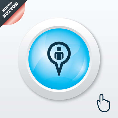 Map pointer user sign icon. Person location marker symbol. Blue shiny button. Modern UI website button with hand cursor pointer. Vector Vector