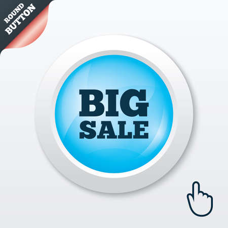 Big sale sign icon. Special offer symbol. Blue shiny button. Modern UI website button with hand cursor pointer. Vector Vector