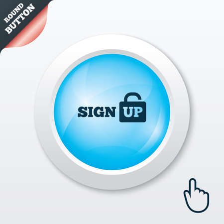 lock up: Sign up sign icon. Registration symbol. Lock icon. Blue shiny button. Modern UI website button with hand cursor pointer. Vector