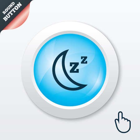 standby: Sleep sign icon. Moon with zzz button. Standby. Blue shiny button. Modern UI website button with hand cursor pointer. Vector
