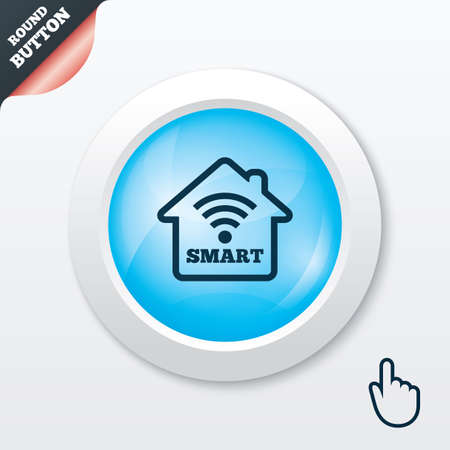 Smart home sign icon. Smart house button. Remote control. Blue shiny button. Modern UI website button with hand cursor pointer. Vector