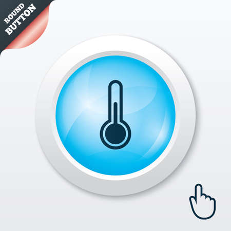 Thermometer sign icon. Temperature symbol. Blue shiny button. Modern UI website button with hand cursor pointer. Vector Vector