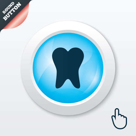 Tooth sign icon. Dental care symbol. Blue shiny button. Modern UI website button with hand cursor pointer. Vector Vector