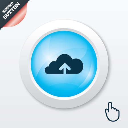Upload from cloud icon. Upload button. Load symbol. Blue shiny button. Modern UI website button with hand cursor pointer. Vector Vector