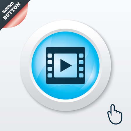Video sign icon. Video frame symbol. Blue shiny button. Modern UI website button with hand cursor pointer. Vector Vector