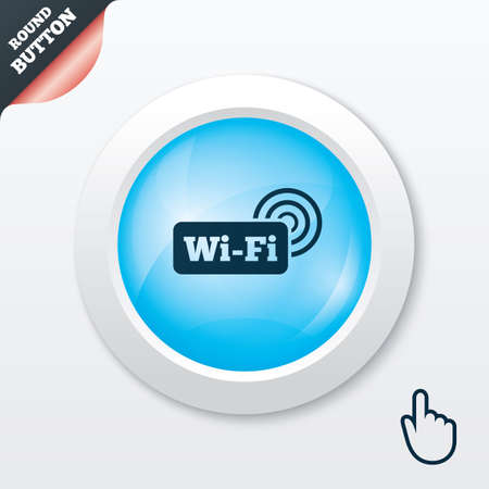 Free wifi sign. Wifi symbol. Wireless Network icon. Wifi zone. Blue shiny button. Modern UI website button with hand cursor pointer. Vector Vector