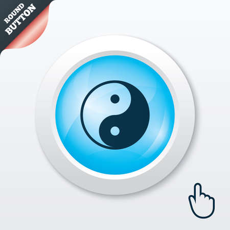 daoism: Ying yang sign icon. Harmony and balance symbol. Blue shiny button. Modern UI website button with hand cursor pointer. Vector Illustration