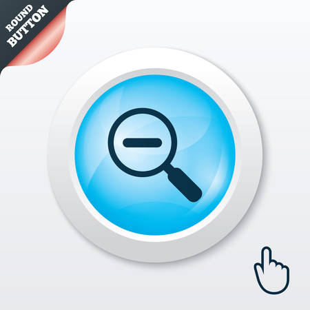 Magnifier glass sign icon. Zoom tool button. Navigation search symbol. Blue shiny button. Modern UI website button with hand cursor pointer. Vector Illustration