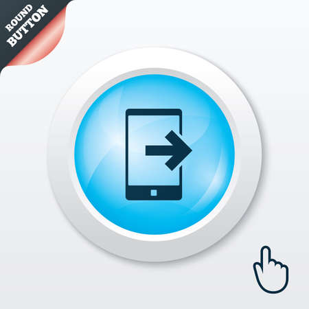 outcoming: Outcoming call sign icon. Smartphone symbol. Blue shiny button. Modern UI website button with hand cursor pointer. Vector