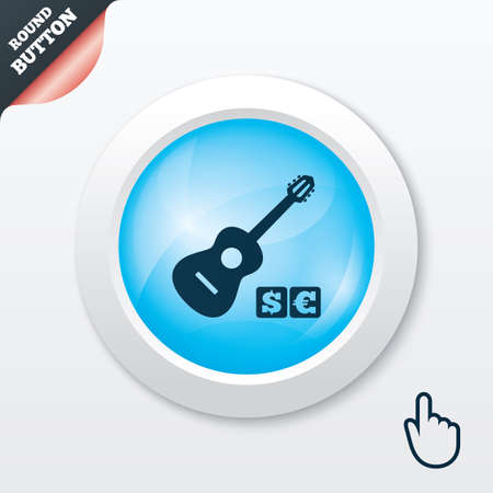 Acoustic guitar sign icon. Paid music symbol. Blue shiny button. Modern UI website button with hand cursor pointer. Vector