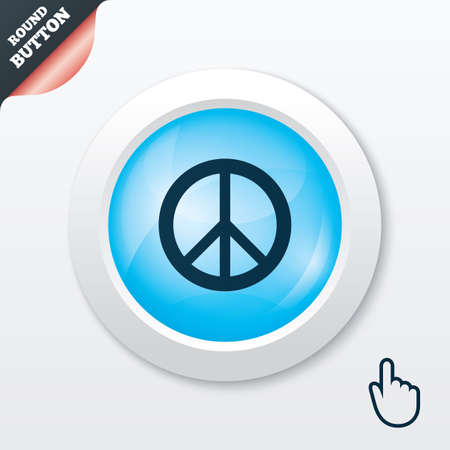peace stamp: Peace sign icon. Hope symbol. Antiwar sign. Blue shiny button. Modern UI website button with hand cursor pointer. Vector Illustration