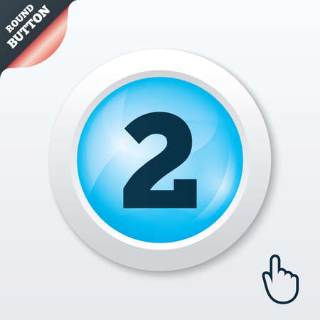 second hand: Second place award sign. Winner symbol. Step two. Blue shiny button. Modern UI website button with hand cursor pointer. Vector