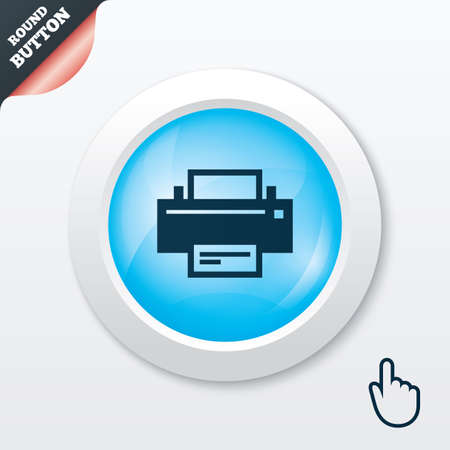 Print sign icon. Printing symbol. Print button. Blue shiny button. Modern UI website button with hand cursor pointer. Vector