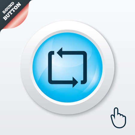 Repeat icon. Loop symbol. Refresh sign. Blue shiny button. Modern UI website button with hand cursor pointer. Vector