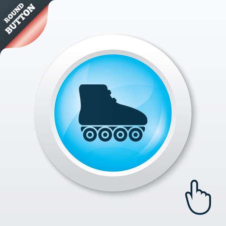 rollerblades: Roller skates sign icon. Rollerblades symbol. Blue shiny button. Modern UI website button with hand cursor pointer. Vector
