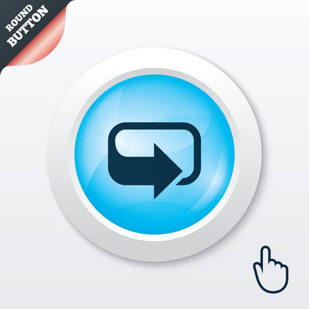 Rotation icon. Repeat symbol. Refresh sign. Blue shiny button. Modern UI website button with hand cursor pointer. Vector Illustration