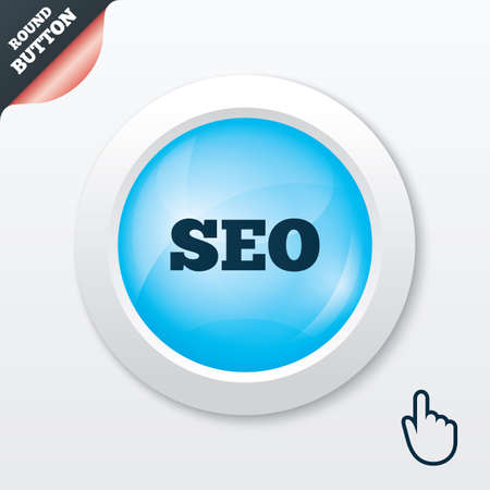 meta analysis: SEO sign icon. Search Engine Optimization symbol. Blue shiny button. Modern UI website button with hand cursor pointer. Vector Illustration