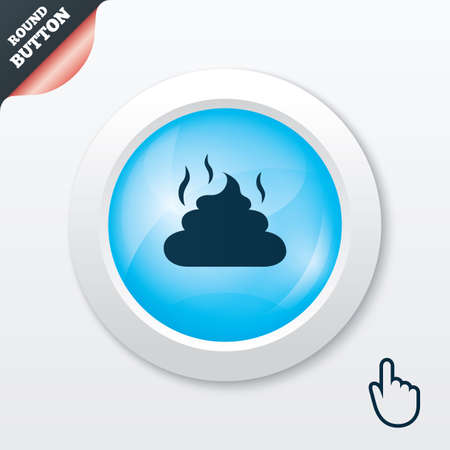 feces: Feces sign icon. Clean up after pets symbol. Put it in the bag. Blue shiny button. Modern UI website button with hand cursor pointer. Vector