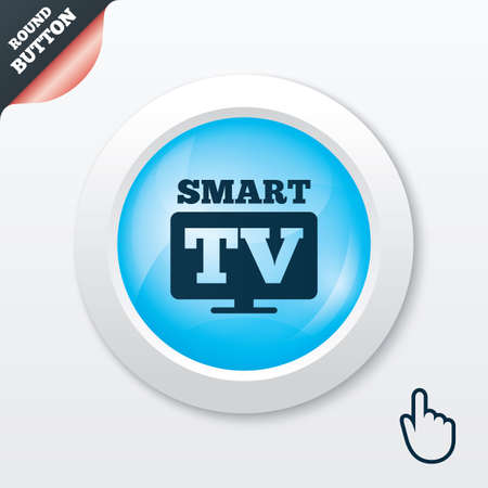 blue widescreen widescreen: Widescreen Smart TV sign icon. Television set symbol. Blue shiny button. Modern UI website button with hand cursor pointer. Vector Illustration