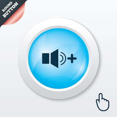 louder: Speaker volume louder sign icon. Sound symbol. Blue shiny button. Modern UI website button with hand cursor pointer. Vector