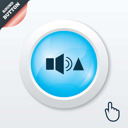 Speaker volume louder sign icon. Sound symbol. Blue shiny button. Modern UI website button with hand cursor pointer. Vector Vector