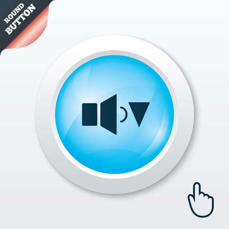 Speaker low volume sign icon. Sound symbol. Blue shiny button. Modern UI website button with hand cursor pointer. Vector Vector