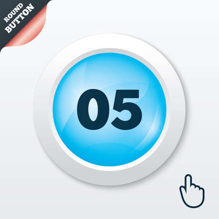 fifth: Fifth step sign. Loading process symbol. Step five. Blue shiny button. Modern UI website button with hand cursor pointer. Vector