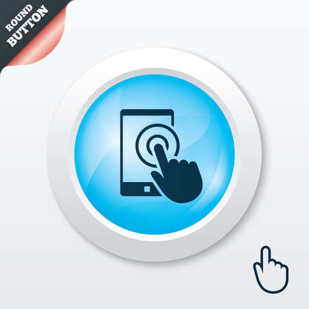 Touch screen smartphone sign icon. Hand pointer symbol. Blue shiny button. Modern UI website button with hand cursor pointer. Vector