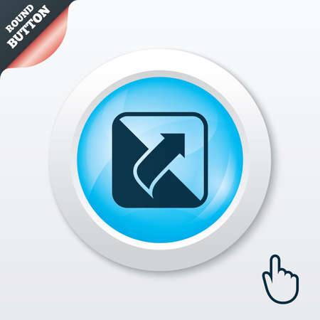 Turn page sign icon. Peel back the corner of the sheet symbol. Blue shiny button. Modern UI website button with hand cursor pointer. Vector Vector