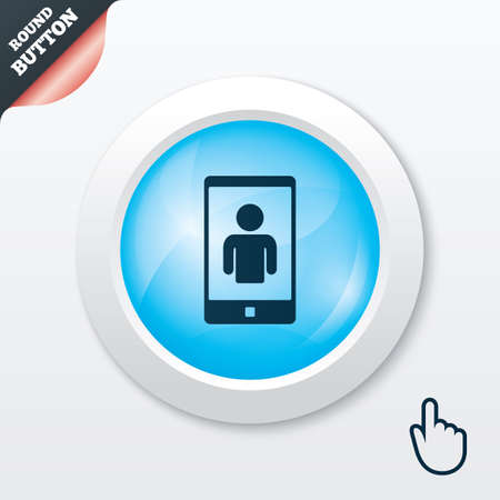 video call: Video call sign icon. Smartphone symbol. Blue shiny button. Modern UI website button with hand cursor pointer. Vector