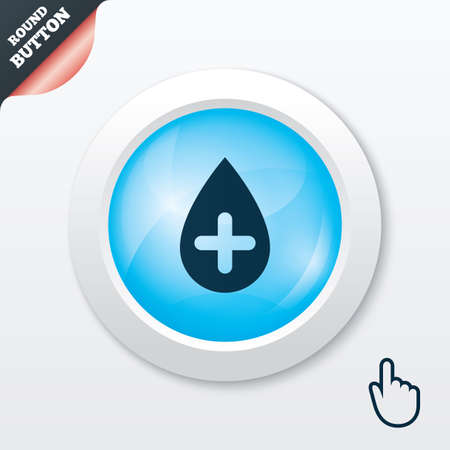Water drop with plus sign icon. Softens water symbol. Blue shiny button. Modern UI website button with hand cursor pointer. Vector