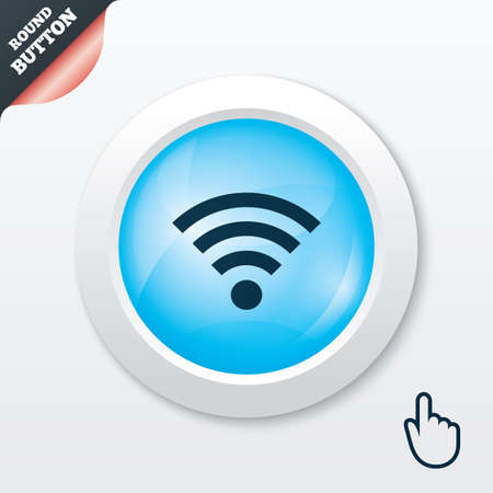Wifi sign. Wi-fi symbol. Wireless Network icon. Wifi zone. Blue shiny button. Modern UI website button with hand cursor pointer. Vector Vector