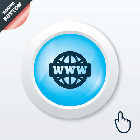 www at sign: WWW sign icon. World wide web symbol. Globe. Blue shiny button. Modern UI website button with hand cursor pointer. Vector Illustration